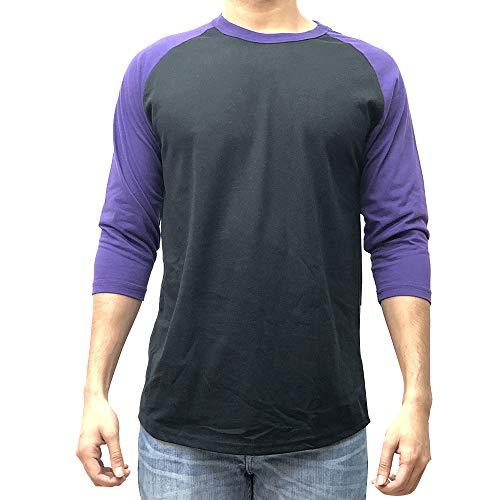 KANGORA Herren Raglan-Baseball-T-Shirt, Unisex, 3/4-Ärmel, Casual Athletic Performance Jersey Shirt (24 + Farben) - Schwarz - Mittel -