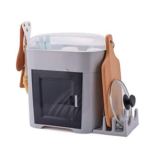 Kitchen Abtropfgestell Küche Geschirrabfluss Storage Rack Zwei-Schicht mit Deckel Haushalts Rack-Kunststoff-Schrank Waschmittelkörbe (Color : C) -