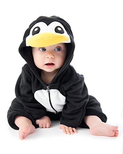 Funzies Fleece leichte Jacke - Winter Pyjama Oberbekleidung für Baby 3-6 monate Schwarzer Pinguin