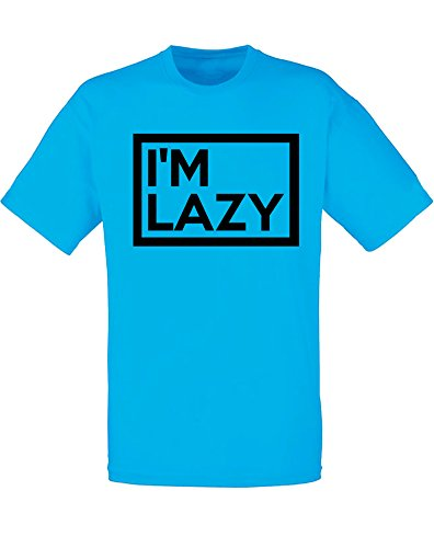 Brand88 - Brand88 - I'm Lazy, Mann Gedruckt T-Shirt Azurblau/Schwarz