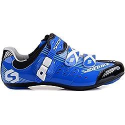 TXJ® Unisexo Zapatos de Bicicleta de Carretera (Elija un Tamaño Más Grande de lo Habitual)(SD-003 Azul-Negro ,41)