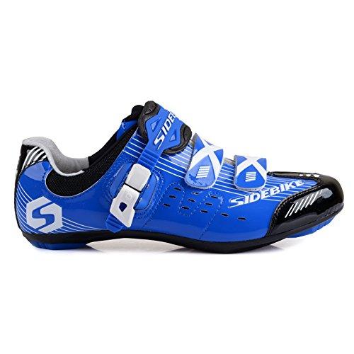 Herren/ Mann Professionelle Radschuhe Rennrad Fahrradschuhe EU Größe 41 Ft 25.5cm Blau/Schwarz (Wählen Sie eine Größe mehr als üblich) - 2