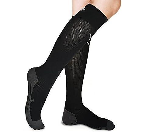 Graduated Compression Socks for Men Women - Best for Running, Maternity Pregnancy, Calf Shin Splint, Swollen Legs, Feet, DVT, Air Flight, Diabetic, Arthritis, Athletic Pain, Plantar Fasciitis Support. (Black, Small