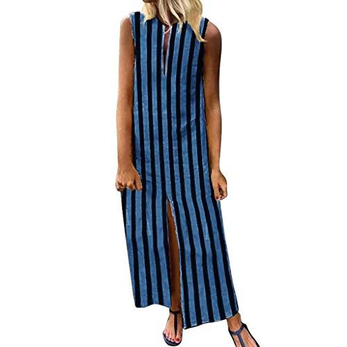 BCFUDA Kleid Frauen Sommer Europa und Amerika Langes Kleid Ärmellos Streifen Gedruckt Casual Lose Maxi Kleid Dünn und leicht Atmungsaktiv Strandkleid - Meerjungfrau Eine Schulter Sweep