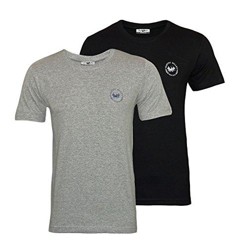 2fe9f24a0 Harvey Miller 2er Pack T-Shirts Rundhals HRM4219 Black Grey Melange  W18-HMT1 Größe