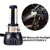 FEZZ Bombilla LED de Faro Motocicletas 40W H4 H6 S2 BA20D P15D25-1 Luz Delantera con Ventilador Refrigeración 3 LED Hi Lo Haz 4400Lm 6000k Blanco Moto