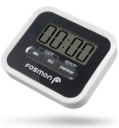 Fosmon Digitale Eieruhr/Elektronische Küchenuhr/Uhr mit Stoppuhr [Magnetisch]LCD Digitalanzeige[Lautem Alarm&Einklappbarer Ständer]Kurzzeitmesser/Küchen Timer Kochen|Backen|Braten|Garen - Schwarz