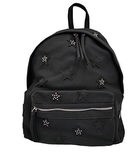 trendiger Stern Patches Rucksack mit kleinen Nieten verziert Bag schwarz (8229) (Kreuzfahrt-patch)