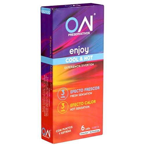 Okamoto «ON®» Zero Zero Four (0.04) ENJOY Cool & Hot - 6 Kondome, je drei Stück mit anregendem Wärme-Effekt und prickelndem Kühleffekt, Premium-Qualität aus Japan, Japan-Import