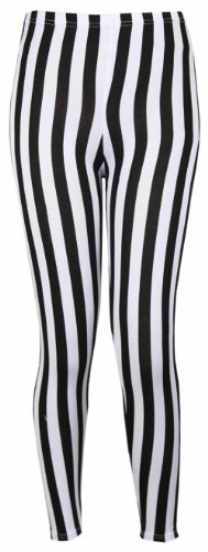 New Ladies Vertical Stripe Print Elasticated Waist Long Stretch Fit Leggings. Sizes up to 26
