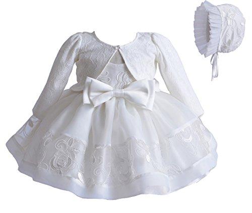 Cinda Vestido de fiesta de bautizo de marfil de niña bebé capó y chaqueta 6-9 Meses con chaqueta