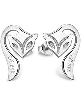 Wunhope Ohrringe Damen Mädchen 925er Sterling Silber Hypoallergen Mode Fuchs Tier Einfache Klein Edel Stecker