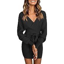 3234fb5bfaf36 Socluer Femme Mini Robe Pull Tricot Fourreau Elégant Robe de Chambre  Tricoté Col V Croisé Sexy