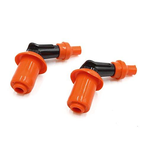 sourcingmap 2pz Arancione Gomma Nera Moto curvilineo Scintilla Tappo Coperchio resistore per GY6