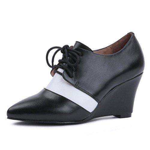 Stivaletti impermeabili delle scarpe con tacco alto Caricamenti del posto di lavoro Stivali da banchetto Pendenza inferiore pianta punta con scarpe in bocca profonda vera pelle 8045FD , black , 40 BLACK-35