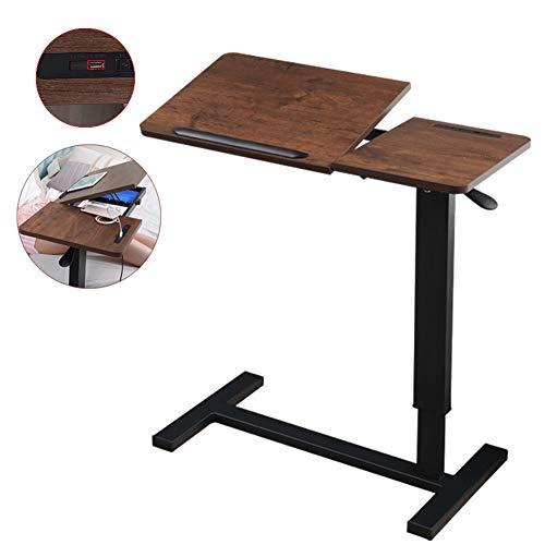 Tragbar Bett Beistelltisch Mit USB-Schnittstelle, Höhenverstellbarer Stealth-Radtisch Mit Kippbarer Oberfläche, Lesen, Mahlzeiten, Senioren, Behinderte, Behinderte