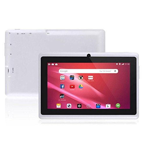 "7"" Google Android 4.4 16:9 Width Screen 800X480 Quad Core Tablet PC 1GB+8GB Dual Camera WiFi Bluetooth US Plug (White)"