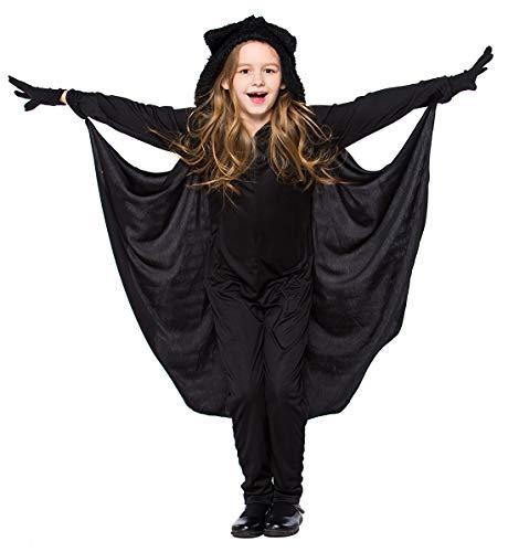 AIVTALK Kinder Fledermaus Kinderkostüm mit Jumpsuit und Handschuhe Jungn Mädchen Kapuze Overall - Größe L für Körpergröße ()