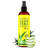 Aloe Vera SPRAY for Face, Skin & Hair - 99% ORGANIC, Made in USA, Big 350ml - EXTRA Strong - SEE RESULTS OR - Easy to Apply - No THICKENERS so it Absorbs Rapidly with No Sticky Residue.