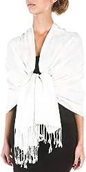 "Sakkas 70"" X 28""Paisley Selbst-Design Schal/Wrap/Stola - Weiß"