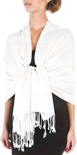 Sakkas 70 x 28 souple Pashmina Feel varié Paisley Conception châle/Wrap/Stole - White