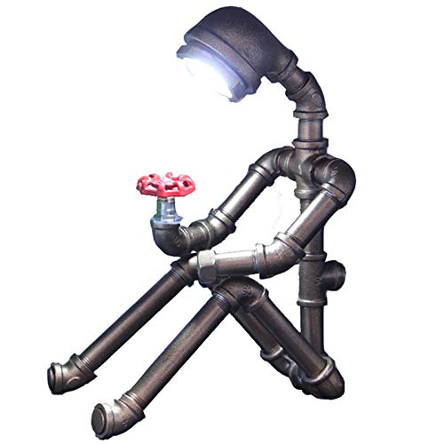 OLDJTK Lampada da Tavolo Industriale del Tubo dell'Acqua del Robot Lampada da Tavolo a LED, personalità Creativa Camera da Letto Comodino Lettura Illuminazione Home Decor Luce retrò (Color : Bronze)