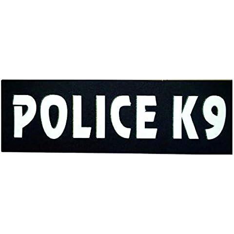 Servizio Riflettente Cane Pet Banda Patch ID Distintivo Etichetta Tag Cablaggio - POLICE K9
