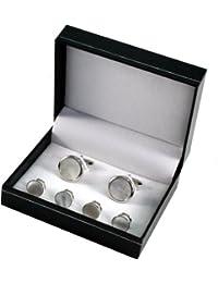 Manschettenknöpfe und 4 Frackknöpfe im Set, Rhodium veredelt (silberfarben), Einlagen aus Perlmutt, inkl. Geschenketui