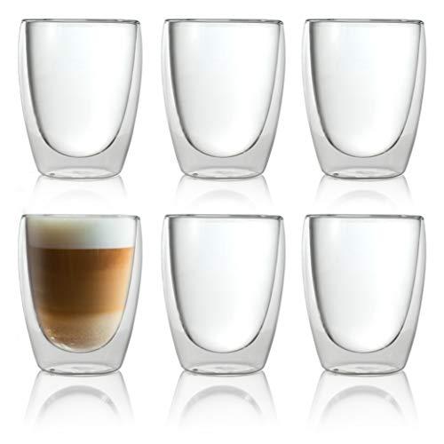 Caffé Italia Torino 6 x 250 ml Doppelwand-Thermo-Gläser - für Latte Macchiato Tee Heiß- und...