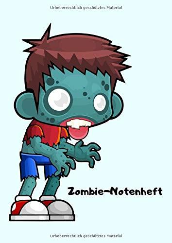 Zombie-Notenheft: 65 Seiten & GROßE LINEATUR / breite Linien - Din A4- mit jeweils 8 Systemen (blanko / leer) - gebundener Notenblock zum Lernen, ... Schule (Lehrer / Musik Unterricht) - günstig