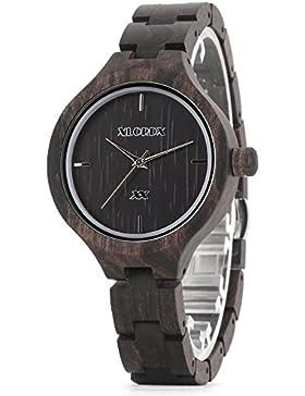 XLORDX Holzuhr Schwarz Bambus Handgefertigte Sandelholz Silber Armbanduhr Damenuhr aus Holz