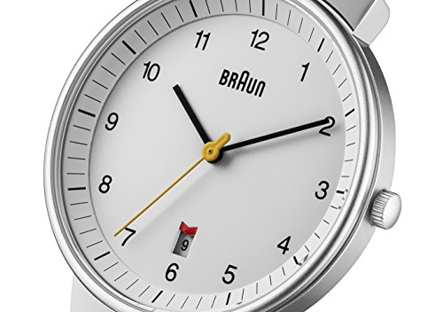 Braun Men's Quartz Three Hand Movement Watch with White Dial Analogue Display and Black Leather Strap BN0032WHBKG