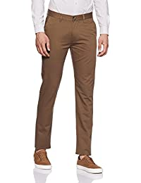 Peter England Men's Slim Fit Cotton Casual Trousers