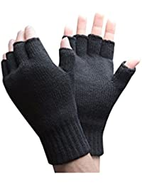 Heat Holders - Mens Winter Warm 3.2 TOG Fleece Lined Insulated Knit Thermal Fingerless Gloves