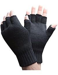 Mens 2.3 tog Thermal knitted Heat Holders FINGERLESS Gloves Black