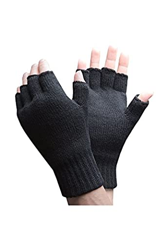 Heat Holders - Mens Winter Warm 3.2 TOG Fleece Lined Insulated Knit Thermal Fingerless Gloves (One Size, Black)