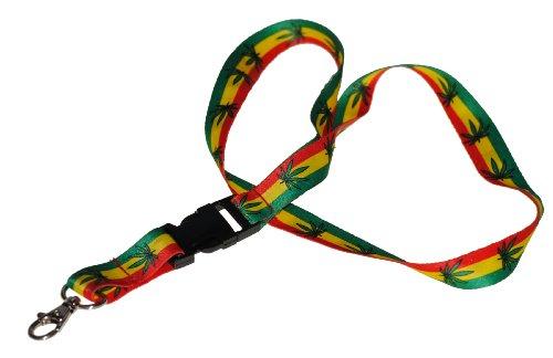 Schlüssel-Band 12er Set teilbar grün-gelb-rot Hanf mit Karabiner-Haken Schlüssel-Anhänger Schlüssel-Kette (Jamaika-geschenk-set)