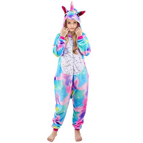 Beinou Einhorn Strampler Pyjamas Flanell Cartoon Kostüm Jumpsuit Nachtwäsche Kinder Schlafanzug Unisex Nachtwäsche Fasching Cosplay Karneval,Star Unicorn, 120/ Height 44-48