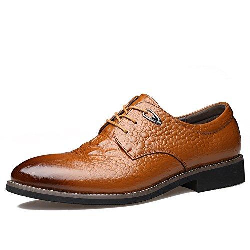 LOVDRAM Männer Lederschuhe Frühling Und Herbst Neue Luxus Handwerk Herren Leder Schuhe Business Dress Spitze Krokodilleder Männer Schuhe Flut, Gelb, 44