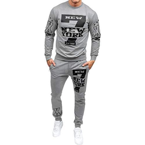 Sweat-Shirt Hommes Amlaiworld Hommes Automne Hiver Sweat imprimé Ensembles de Pantalons Survêtement Sport Suit Jogging Survêtem