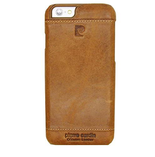 Pierre Cardin Leather Back Cover Case Shell Cover for Apple iPhone 6 Plus-Brown