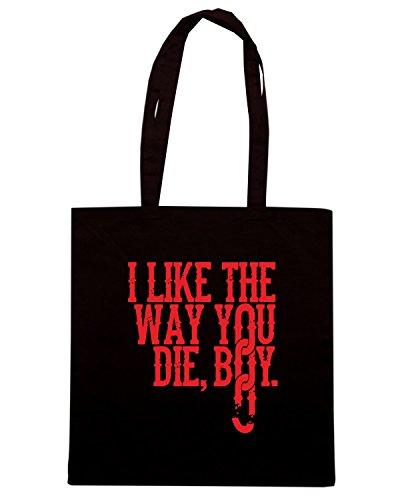 T-Shirtshock - Borsa Shopping FUN1230 DjangoUnchainedTshirt ILikeTheWayYouDieBoy Paprika CU 6 Nero