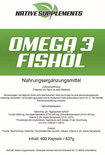 600 Kapseln Omega 3 Fischöl, 1000mg pro Softgelkapsel, mit EPA + DHA + Vitamin E – 100% Geld zurück Garantie, Unterstützend beim Muskelaufbau und zur Fettverbrennung