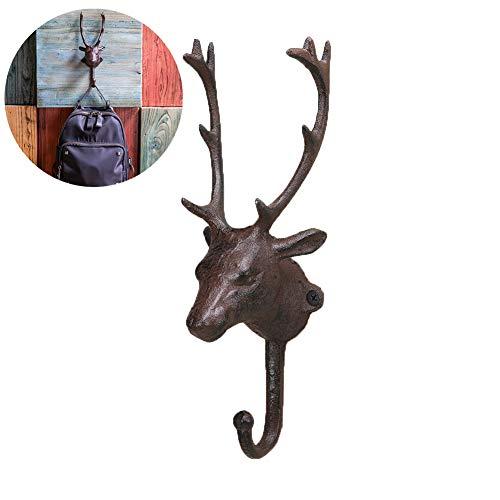 Ganchos de pared vintage de hierro fundido con acabado envejecido, para colgar ropa, diseño de cabeza de animal, para colgar llaves en la pared, diseño rústico (ciervo, óxido)