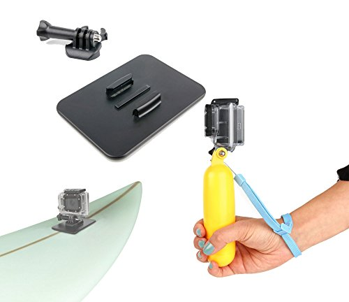 Kit sports nautiques / d'hiver (planche de surf, skateboard, skis, snowboard) : flotteur bouée jaune + Plaque de fixation plate collante 3M™ pour Excelvan TC-DV6, TC-Y8, TC-J6, TC-Q5, Q6 et Eyes GO 1 - Eyes GO 2 - Eyes GO 3 - Eyes GO 4 caméra embarquée - DURAGADGET