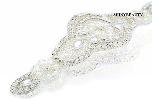 Shinybeauty Strass-Aufnäher, Strass-Brautschmuck, Schärpen-Applikation und Gürteldekoration, für Hochzeit, Kleider-Zubehör, Dekoration für Kleid / Gürtel, Hochzeits-Accessoire, für Damen, RA016, Ivory RA001, 16.5cmx5.0cm (Hochzeit Kleid Schärpe-gürtel Ivory)