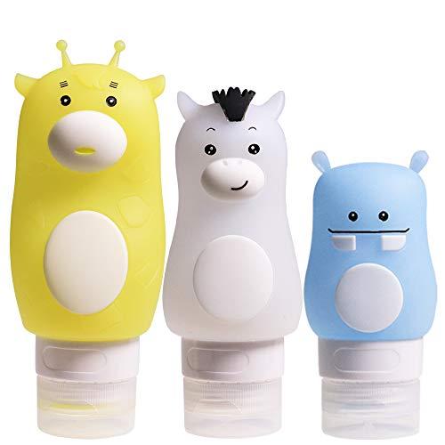 Inchant Bouteilles de Voyage en Silicone Portable Set - Leakproof cosmétiques contenants, Bouteilles et Squeezable Rechargeables Set avec Ventouse (3 Pack)