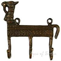 """EYES OF INDIA - 5"""" CAMEL BRASS COAT KEY HAT HANGERS WALL HOOKS Ethnic Decorative Indian Art - NOTA: Questo articolo è fatto esclusivamente da occhi dell'India. Noi non rivendiamo né autorizzare altri venditori di vendere i nostri prodotti, quindi se ..."""