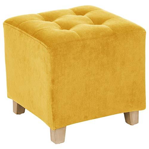Taburete puff cuadrado - Tapizado en TERCIOPELO - Color Amarillo Ocre