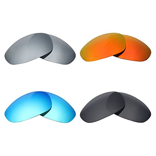 MRY Polarisierte Ersatzgläser für Oakley Juliet Sonnenbrillen, Stealth-Schwarz / Feuerrot / Eisblau / Silber-Titan, 4Paar
